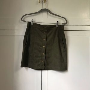 Olive green suede mini skirt, size large